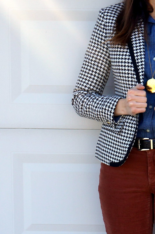 chambray shirt + cords + houndstooth Target blazer