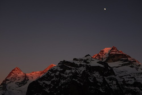 Last ray of light at Eiger, Moench and Jungfrau