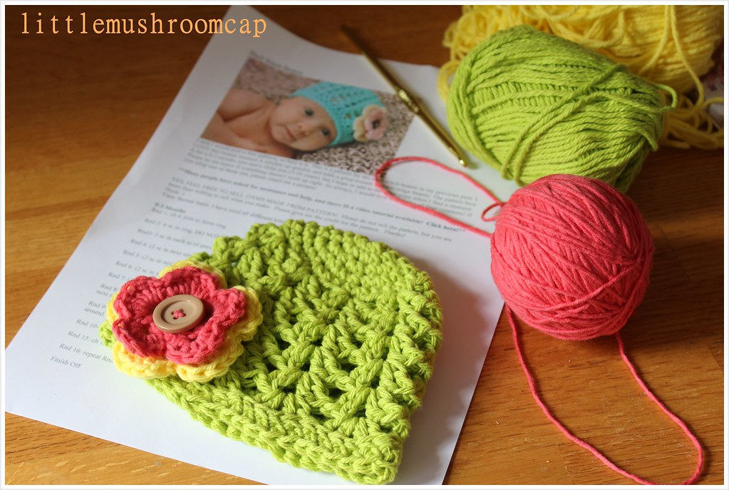 Lime Green crochet beanie