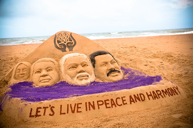 Sand Artist Manas Kumar Sahoo congratulates the Prime Minister of India