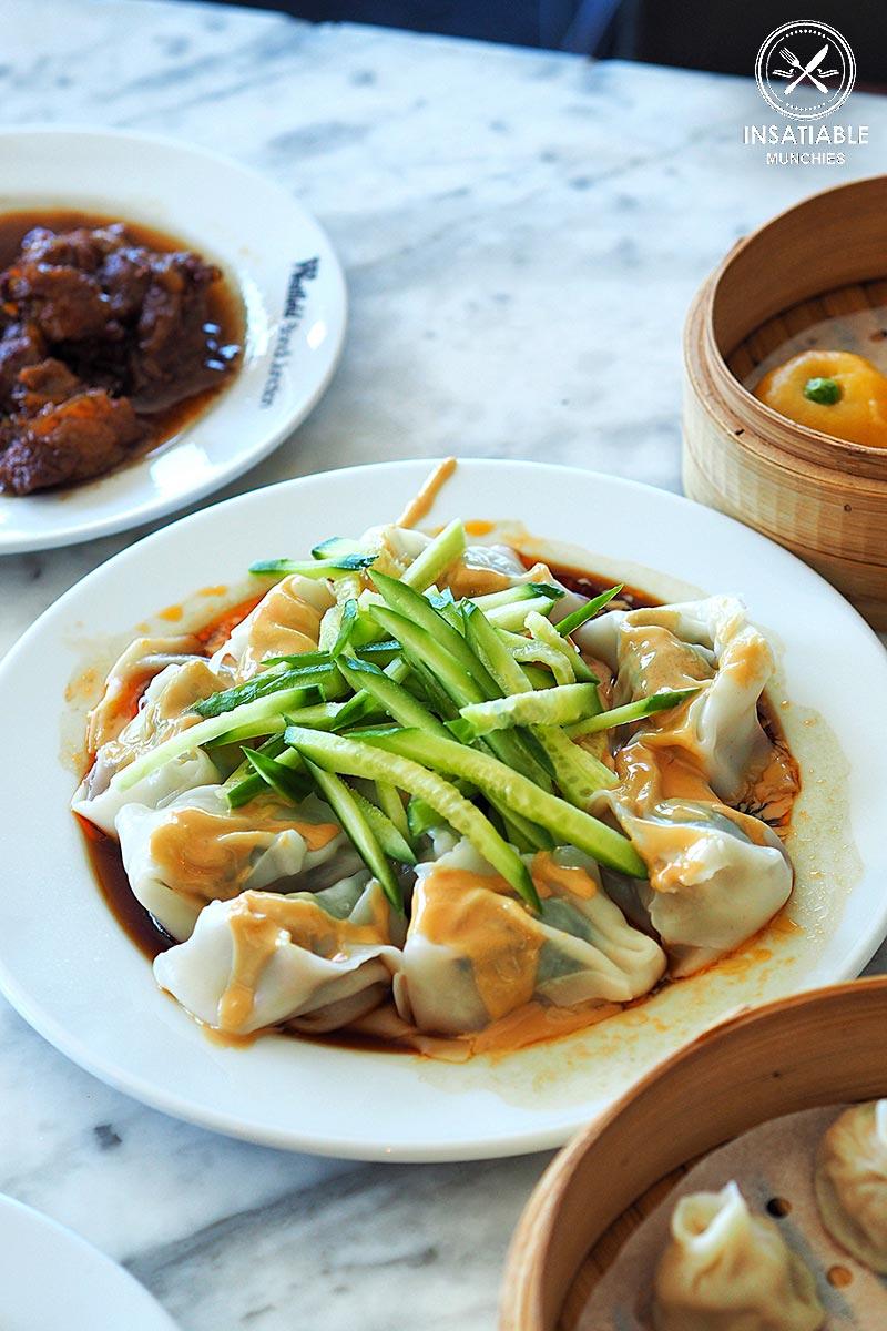 New Shanghai, Bondi: Sydney Food Blog Review: Shepherd's purse & pork wonton tossed w/sesame butter, red chilli oil & spice, $11.50