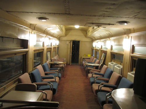 Interior of Atchison, Topeka & Santa Fe heavyweight lounge car # 3514.  The Illinois Railway Museum.  Union Illinois.  Saturday, May 8th, 2013. by Eddie from Chicago