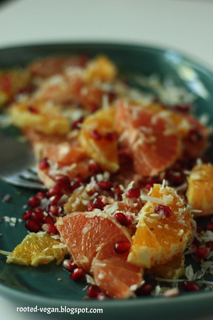 vegan summer citrus salad by rooted-vegan.blogspot.com