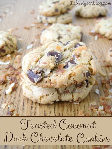 Toasted Coconut Dark Chocolate Cookies from The First Year Blog