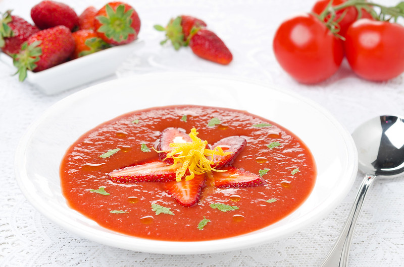 gazpacho with strawberries and tomatoes