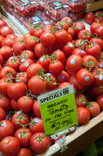 Organic tomatoes on  display at the La Montanita Co-op in Albuquerque, NM.