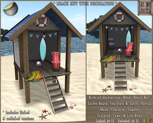 RnB Mesh Beach Hut 1 with Decoration (Partial Mesh)