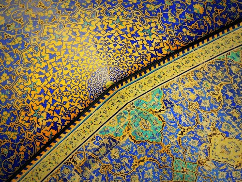 asia beautiful ceiling decoration design floral geometry imammosque iran isfahan islam islamic islamicrepublic middleeast mosque muslim safavid semicircle sheikhbahaei tile tilework westasia gettyimagesmiddleeast tourism travel mosaic art muslimculture