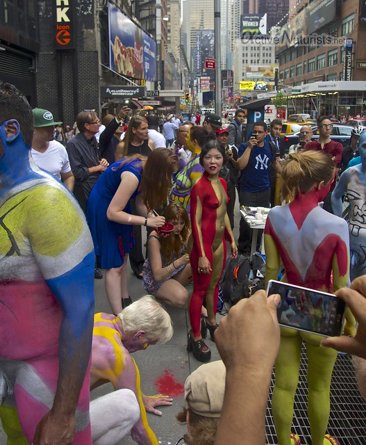 naturist 0001 body paint art, Times Square, New York, NY, USA
