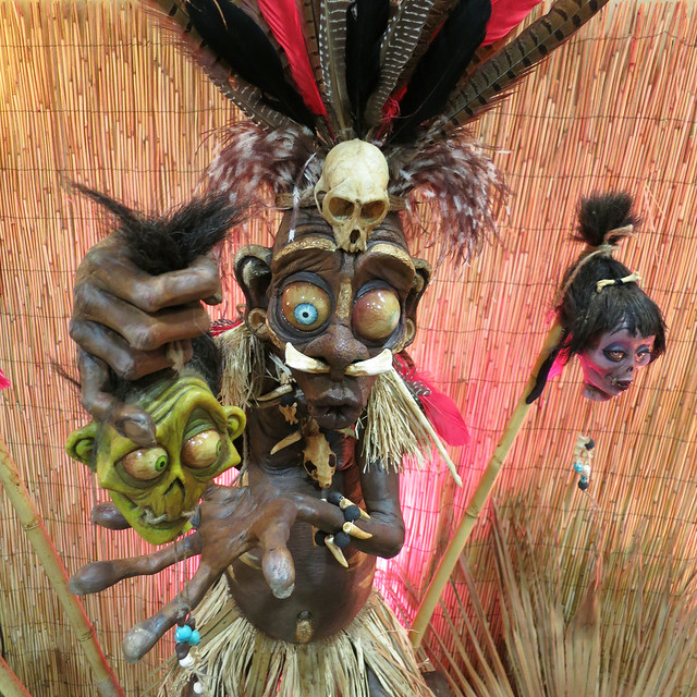 Voodoo Witch Doctor With Shrunken Heads Sculptures by The