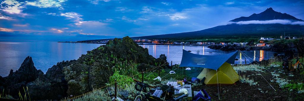 Camping on Rishiri Island, with Mt. Rishiri in the background (Hokkaido, Japan)