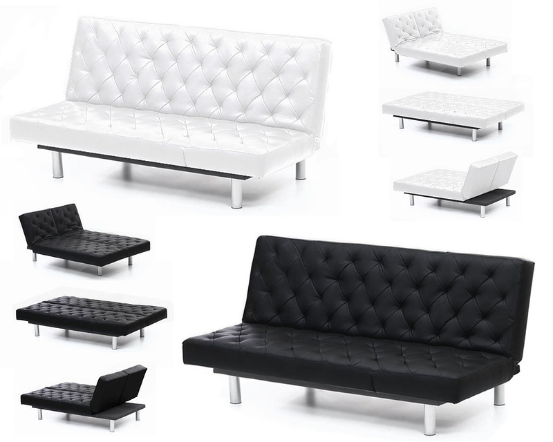 banquette lit canape clic clac london xl facon cuir neuf. Black Bedroom Furniture Sets. Home Design Ideas