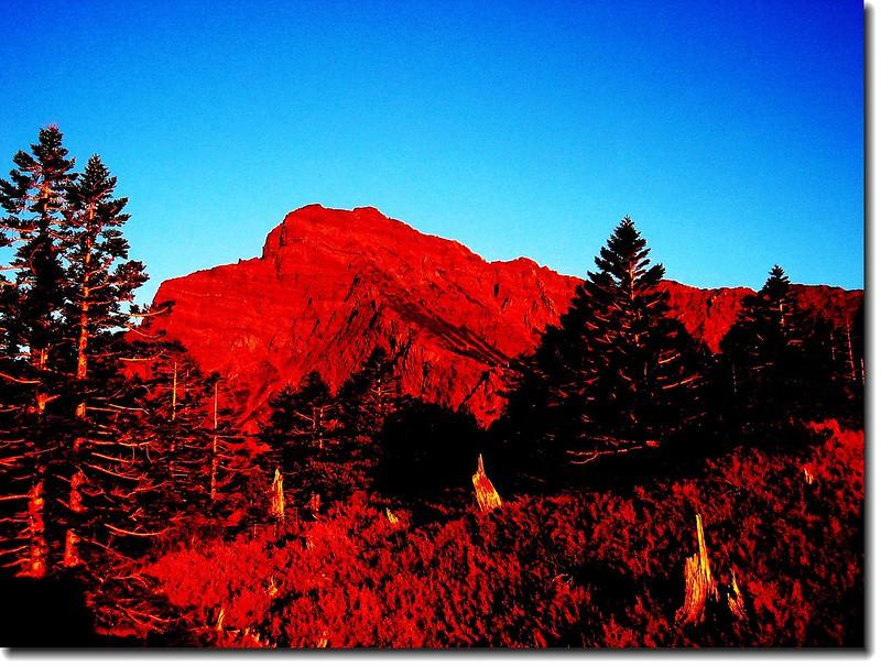 夕陽映照玉山