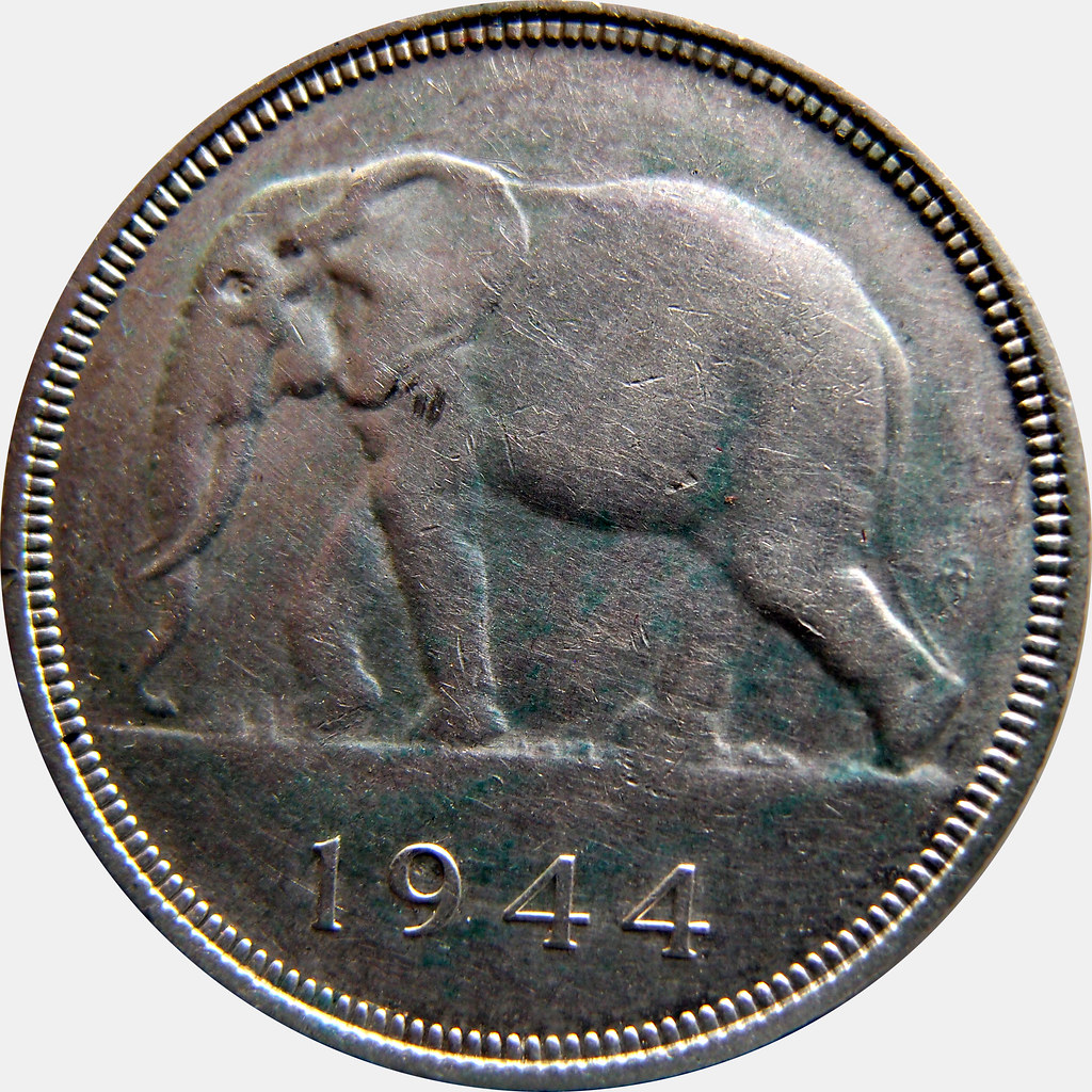 Congo Belga. 5 Francos. 1944. Elefante 10460723353_b5955fcee5_b