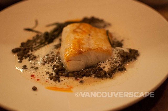 PiDGiN's Smoked ling cod, lentils, clams, bacon dashi veloute