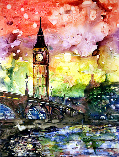 Watercolor painting of Big Ben (Clock Tower) on YUPO synthetic paper