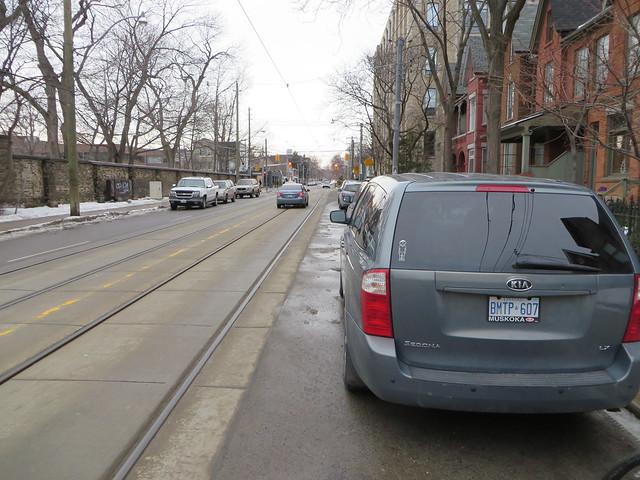 Shaw Street north of King, with streetcar tracks