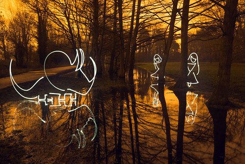 Doyouthinkhesaurus? (All In Camera Light Painting Girls Hiding From Triceratops), Rickmansworth Aquadrome by flatworldsedge
