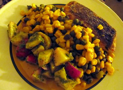 Barramundi; succotash; radish-parsnip salad