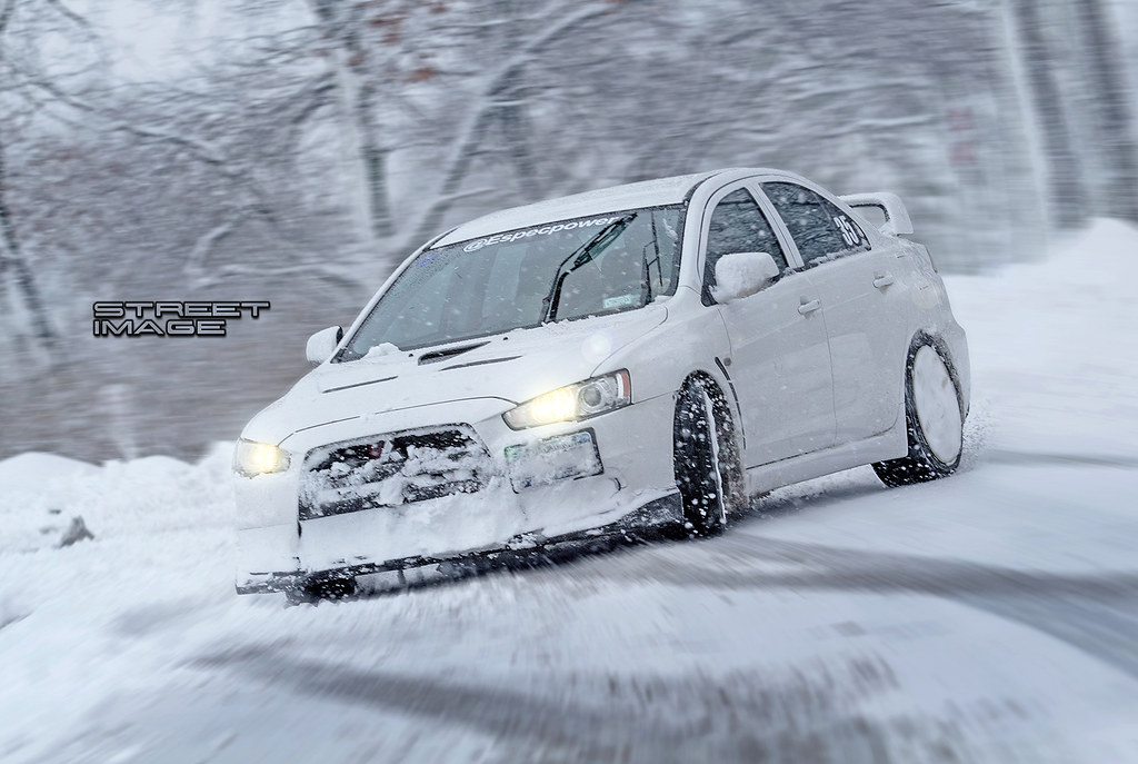 Mitsubishi Evolution X Slideways In The Snow Right Foot Down