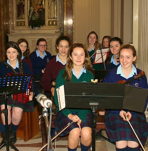 Some of the St Louis High School girls ready to play traditional music at the Centenary Mass on October 4, 2013