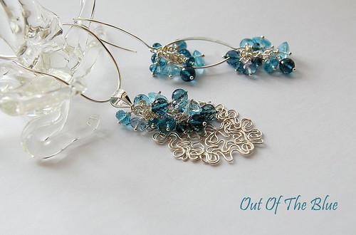 Out Of The Blue Pendant & Earrings by gemwaithnia
