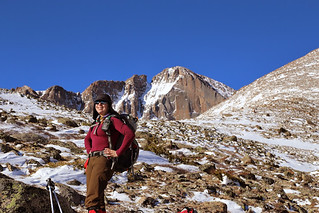 Clare in Mills Moraine - With Longs Peak Lurking