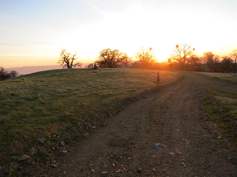 The setting sun from the Maggie's Half Acre camp turn-off at marker 28 on the Ohlone Wilderness Trail.
