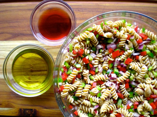 pasta + peppers and onions + dressing
