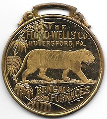 gilt brass watch fob from Royersford, PA obverse