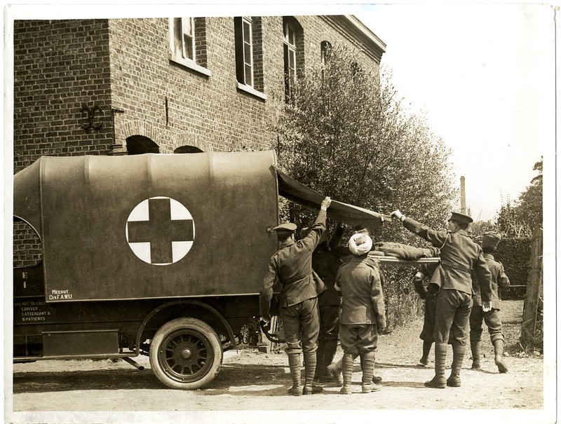 Casualty arriving at a Field Ambulance [La Gorgue, France]. Photographer: H. D. Girdwood.
