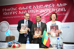 Left to right: Dr. Peter Salama, Dr. Kesetebirhan Admasu and Ambassador Chantal Hebberecht officially launches ESDE Project.