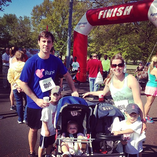 First family 5k!  Both boys ran over a mile on their own. So proud of both of them. #bunnyrun #specialkidsandfamilies