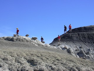Climbing on the badlands and hoodoos in Bisti Wilderness Area, New Mexico