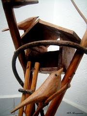 Wooden bird and nest