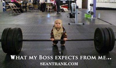 MEME baby lifting weights