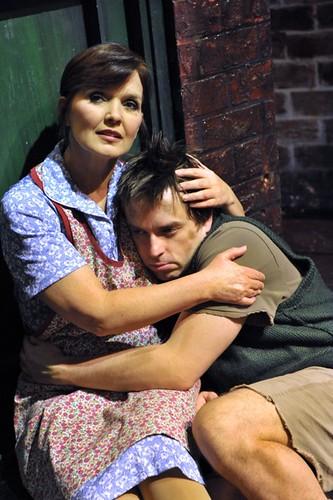 Maureen Nolan as Mrs Johnstone & Sean Jones as Mickey. Production Photo.