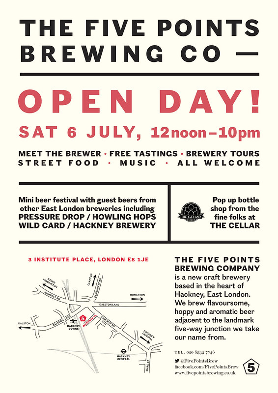 Open Day poster for The Five Points Brewing Company