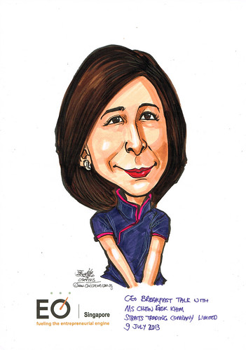 Ms Chen Gek Khim caricature for EO Singapore