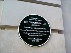 Photo of Simon Milton green plaque
