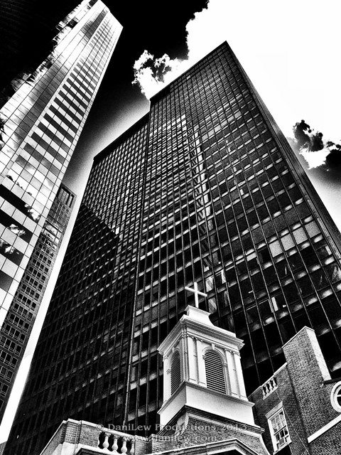 iPhone - NYC Black&White building reflection - taken with an Apple iPhone 4S
