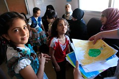 Refugee children from Syria at a clinic in Ramtha, northern Jordan