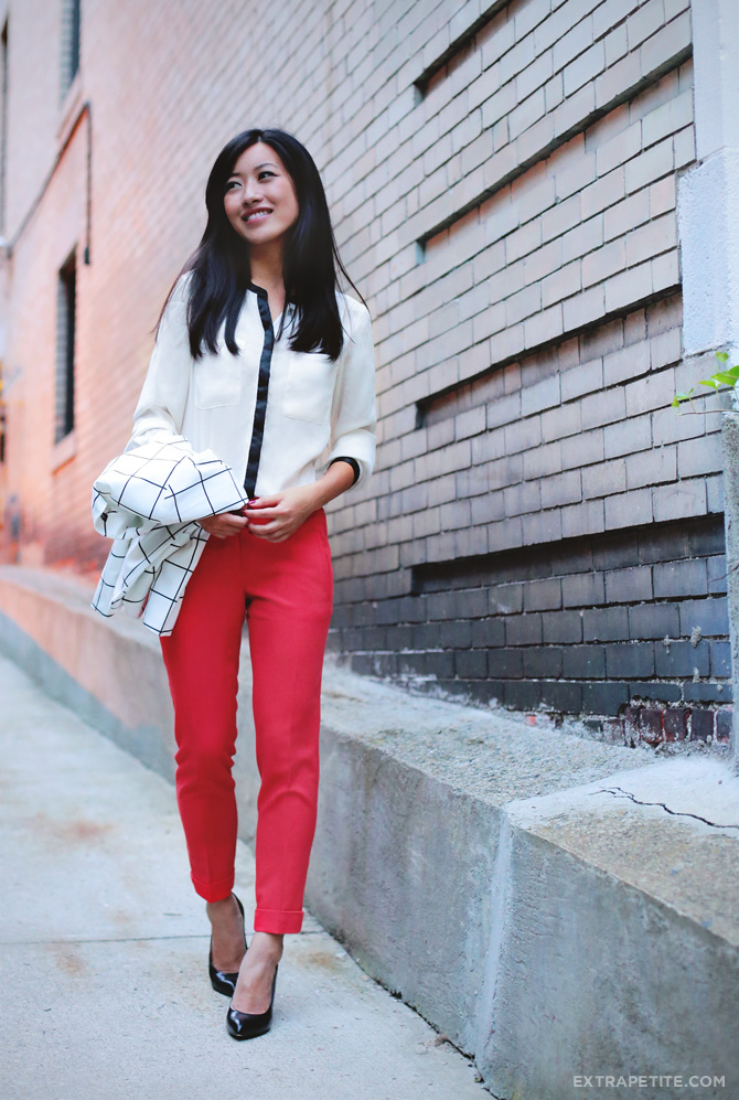 windowpane blazer red pants2