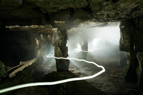 Cave Darkness (Quarry Light Painting & Smoke), Dorset by flatworldsedge
