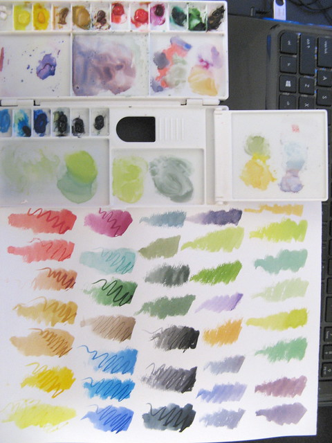 Watercolor box and swatches