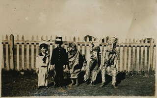 Some of the characters of our fancy dress carnival, Oodnadatta, 23 March 1923 [John Flynn?]