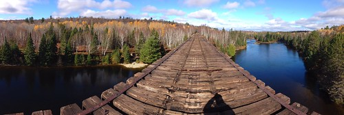 bridge trees panorama ontario water forest train river ties landscape high pano rail railway sudbury iphone oldrailwaybridge iphone5 wahnapitei wahnapiteiriver iphone5panorama