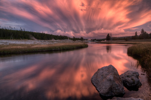 Firehole River, Yellowstone National Park Sunset HDR
