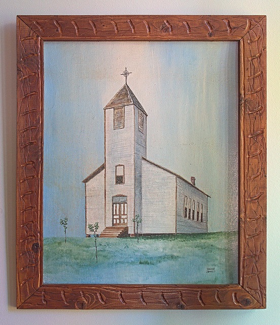 Saint Anthony Roman Catholic Church, in Glennon, Missouri, USA - painting of old church