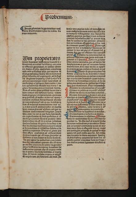 Incipit title of Bartholomaeus Anglicus: De proprietatibus rerum